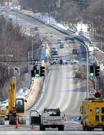 A water main break at Aiken Avenue caused Routes 9 & 20 in both directions to be closed on Friday, Feb. 6, 2015, in Rensselaer, N.Y.  (Michael P. Farrell/Times Union) Photo: Michael P. Farrell / 00030512A