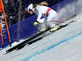 Lindsey Vonn got off to a fast start in her signature event but faded in the middle portion of the twisty course.