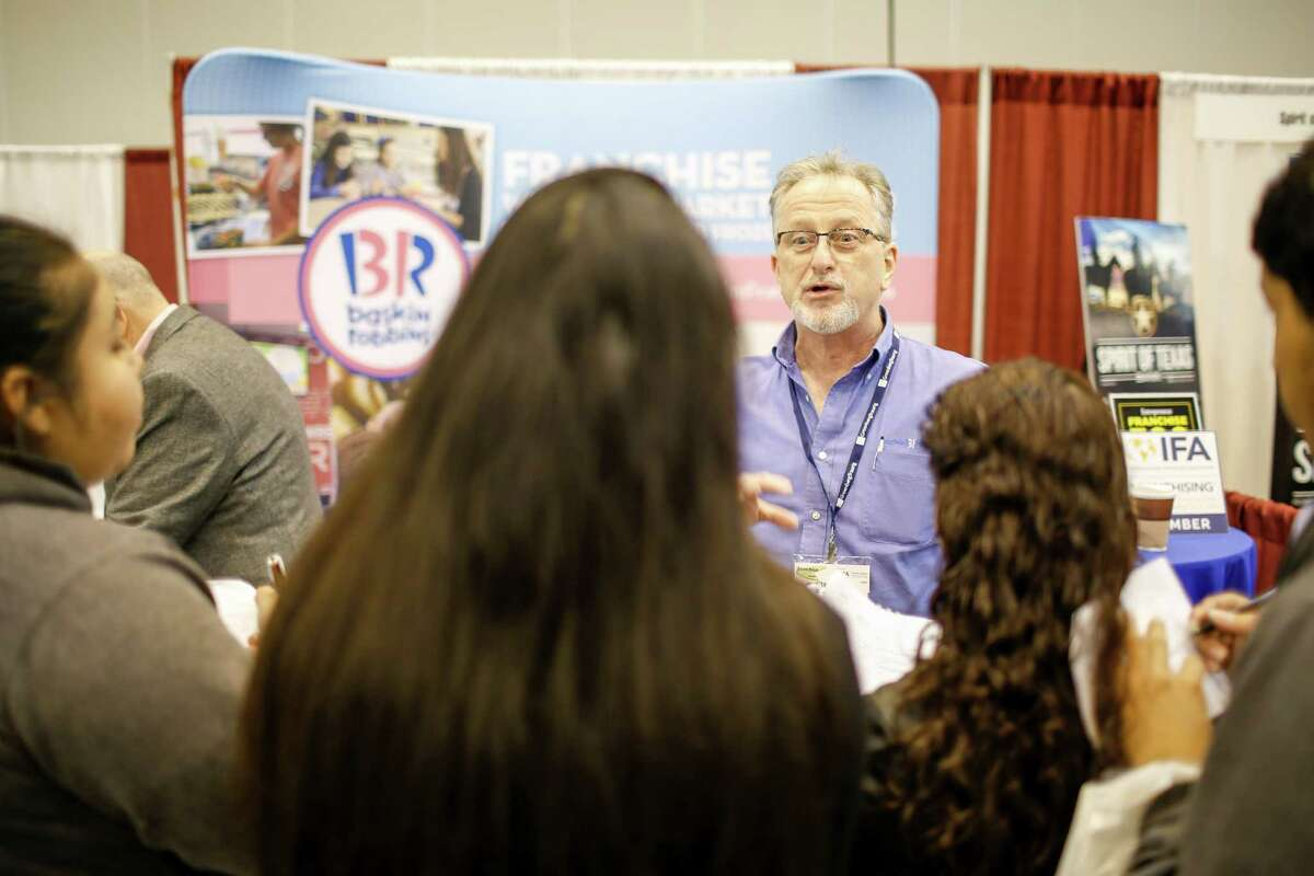 Brian Savage with Baskin-Robbins speaks to interested parties.