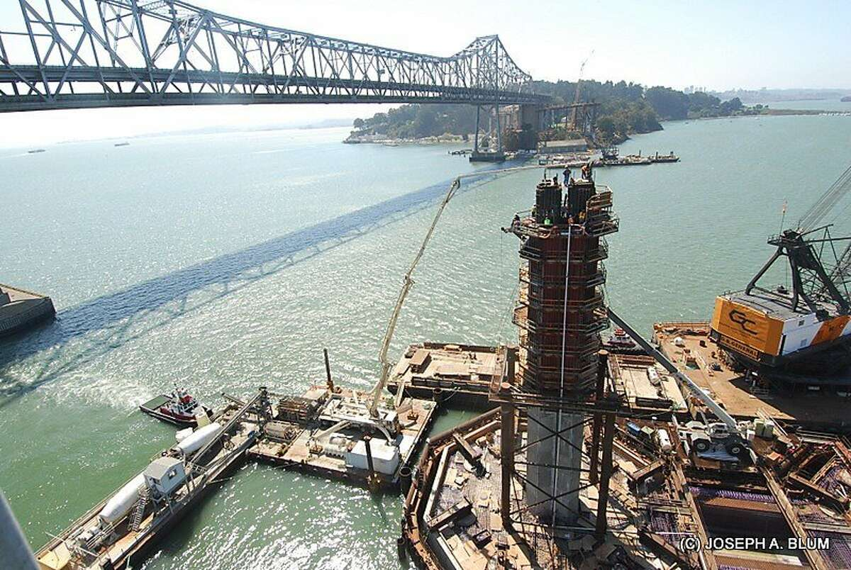 Stunning photographs showing the construction of the new east span of the Bay Bridge are on exhibit in Sausalito. (Photos by Joseph A. Blum)
