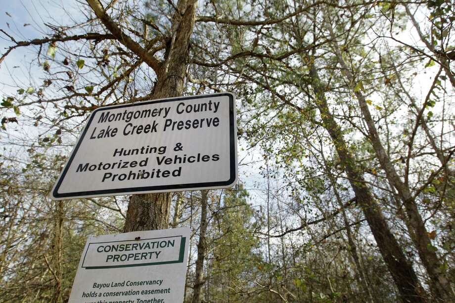 The front trail entrance is shown in the Lake Creek Preserve Thursday, Jan. 29, 2015,  in Montgomery County.   ( Melissa Phillip / Houston Chronicle ) Photo: Melissa Phillip, Staff / © 2014  Houston Chronicle