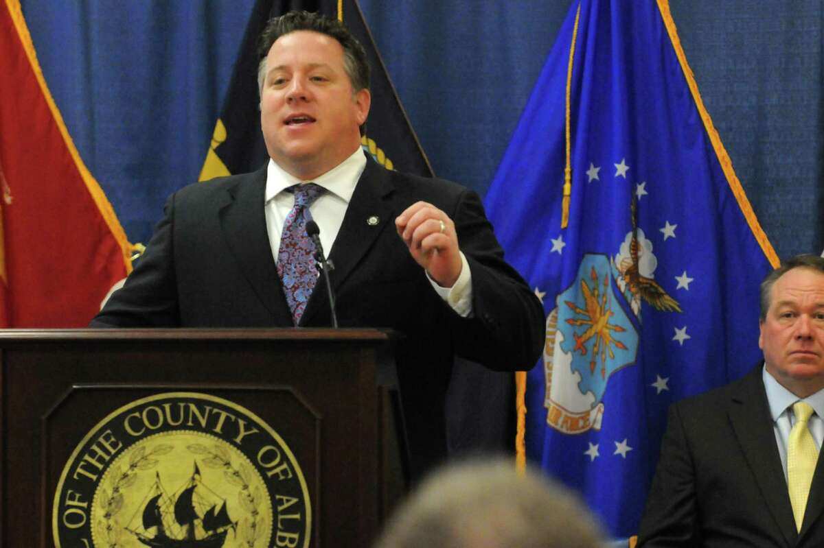 Albany County Executive Daniel P. McCoy unveil a plan for 350 acres in the Helderberg to be preserved as a public resource on Friday Feb. 6, 2015 in Berne , N.Y. (Michael P. Farrell/Times Union)