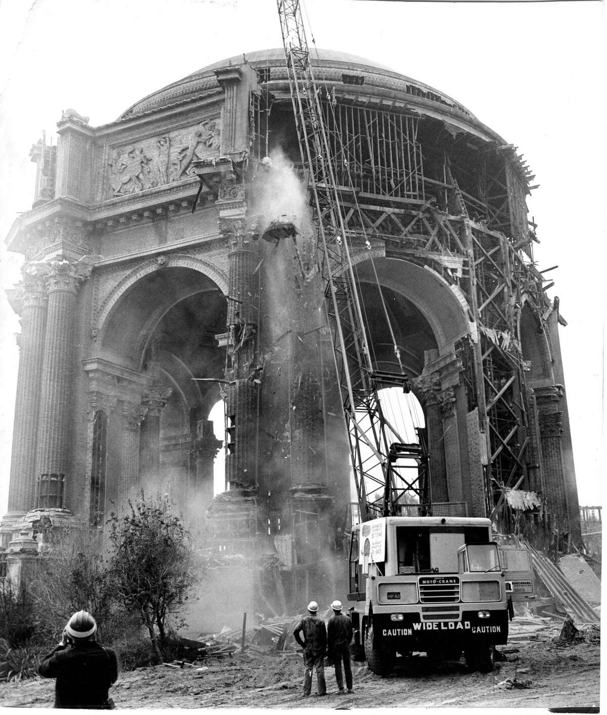 Saving the Palace of Fine Arts meant partially demolishing it and then reconstructing it with higher-quality materials. Photo shot Oct. 15, 1964.
