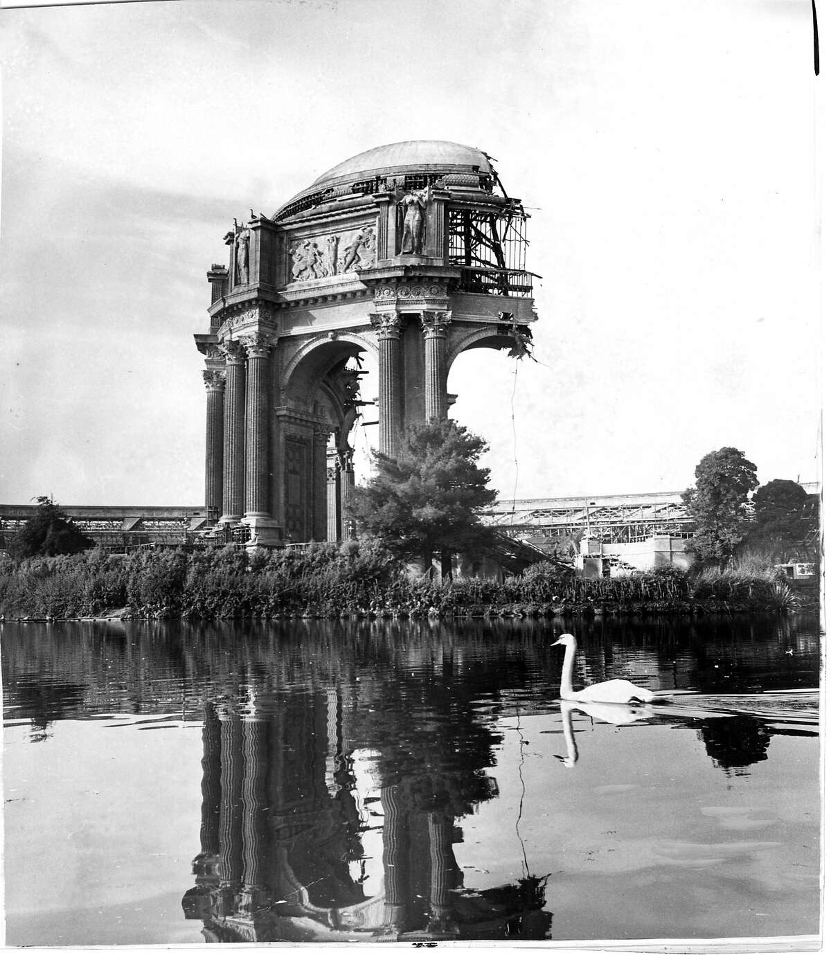 The Palace of Fine Arts was not meant to be a permanent structure when it was built for the 1915 Panama-Pacific Exposition, but when the city decided to keep it long-term, it needed to be partially reconstructed with new materials, as seen here in this October 1964 photo. The Chronicle's Bill Van Niekerken recently reportedthe full story on the challenges of saving the structure.