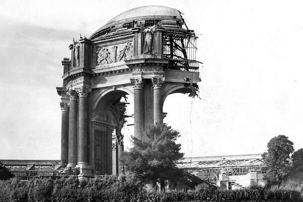 Saving the Palace of Fine Arts, meant partially demolishing it and then reconstruction with better materials.  Photo ran 10/18/1964