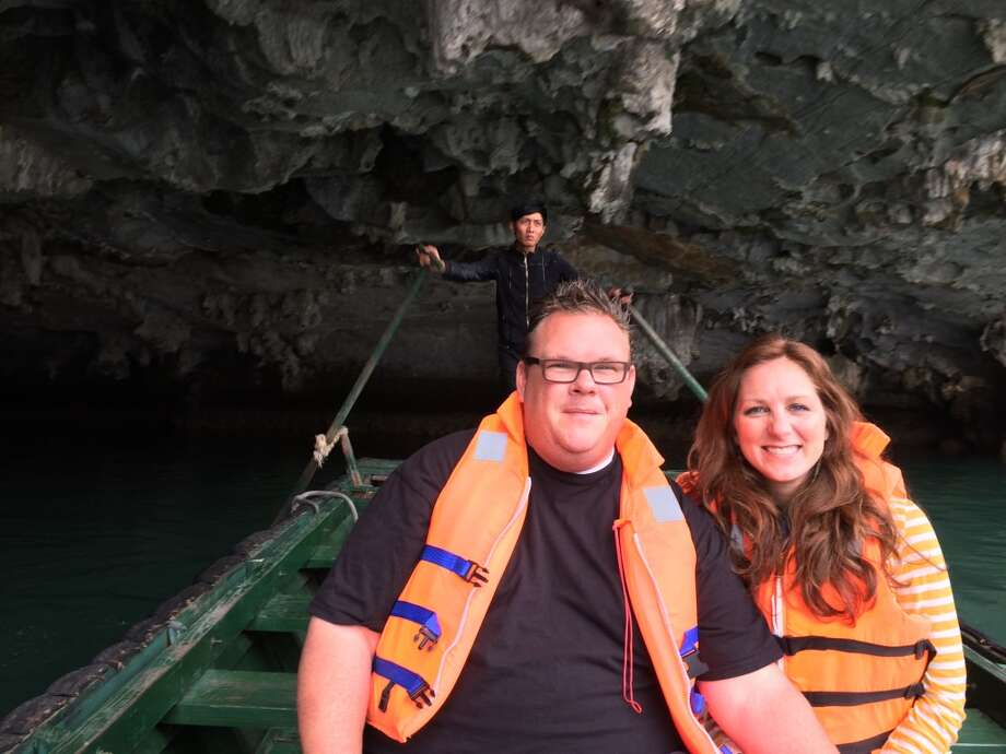Chris Shepherd and Lindsey Brown boating into the cave to see monkeys in Halong Bay Photo: Chris Shepherd
