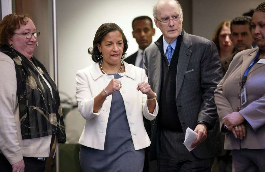 National Security Adviser Susan Rice prepares to outline President Barack Obama's new foreign policy Friday at the Brookings Institution in Washington. The 29-page document will serve as a blueprint for his final two years in office. Photo: J. Scott Applewhite, STF / AP