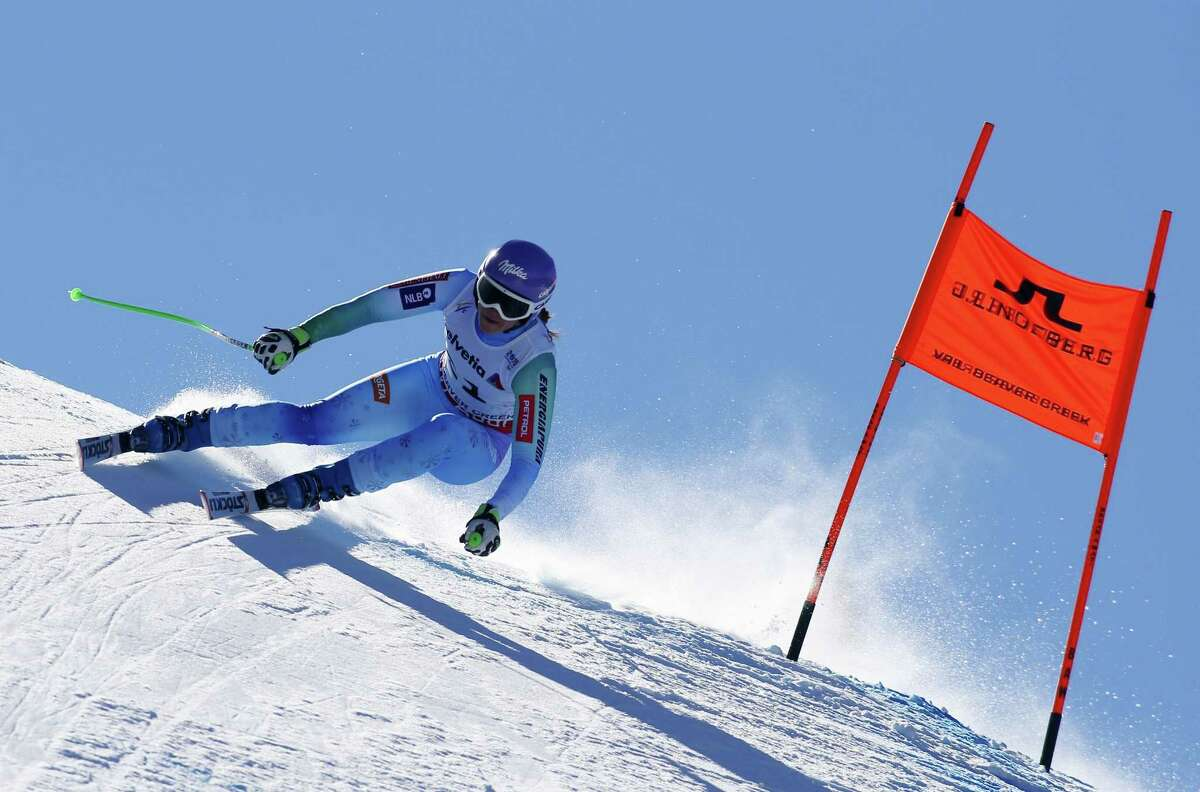 Tina Maze of Slovenia races down the course during the 2015 World Alpine Ski Championships women's downhill February 6, 2015 in Beaver Creek, Colorado. AFP PHOTO/NATHAN BILOWNATHAN BILOW/AFP/Getty Images ORG XMIT: 532507643