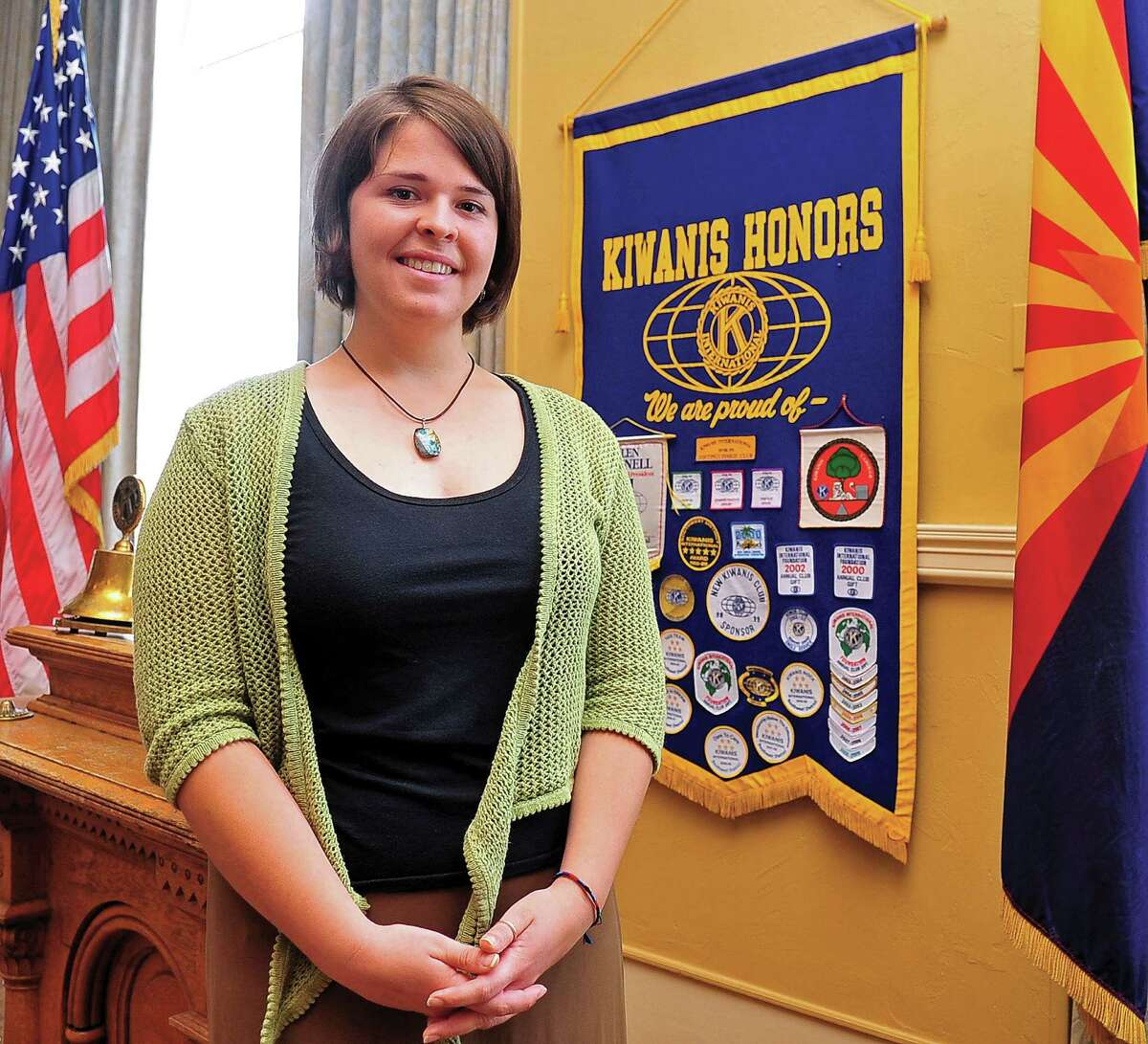 In this May 30, 2013, photo, Kayla Mueller is shown after speaking to a group in Prescott, Ariz. A statement that appeared on a militant website commonly used by the Islamic State group claimed that Mueller was killed in a Jordanian airstrike on Friday, Feb. 6, 2015, on the outskirts of the northern Syrian city of Raqqa, the militant group's main stronghold. The IS statement could not be independently verified. (AP Photo/The Daily Courier, Matt Hinshaw) MANDATORY CREDIT ORG XMIT: AZPRE101