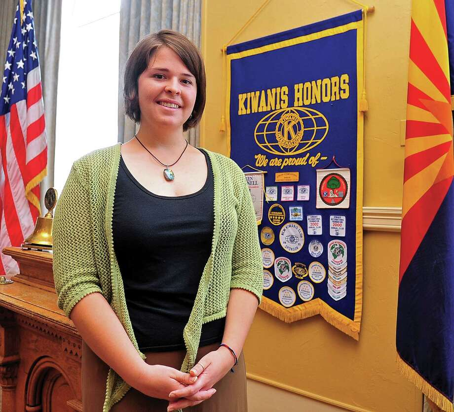 In this May 30, 2013, photo, Kayla Mueller is shown after speaking to a group in Prescott, Ariz. A statement that appeared on a militant website commonly used by the Islamic State group claimed that Mueller was killed in a Jordanian airstrike on Friday, Feb. 6, 2015, on the outskirts of the northern Syrian city of Raqqa, the militant group's main stronghold. The IS statement could not be independently verified. (AP Photo/The Daily Courier, Matt Hinshaw) MANDATORY CREDIT ORG XMIT: AZPRE101 Photo: Matt Hinshaw / The Daily Courier