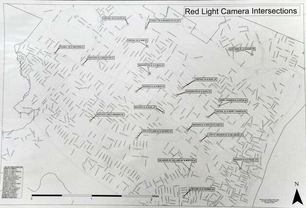 A map of the 20 intersections that red light cameras will be installed on Friday Feb. 6, 2015 in Albany , N.Y.  (Michael P. Farrell/Times Union) Photo: Michael P. Farrell / 00030511A