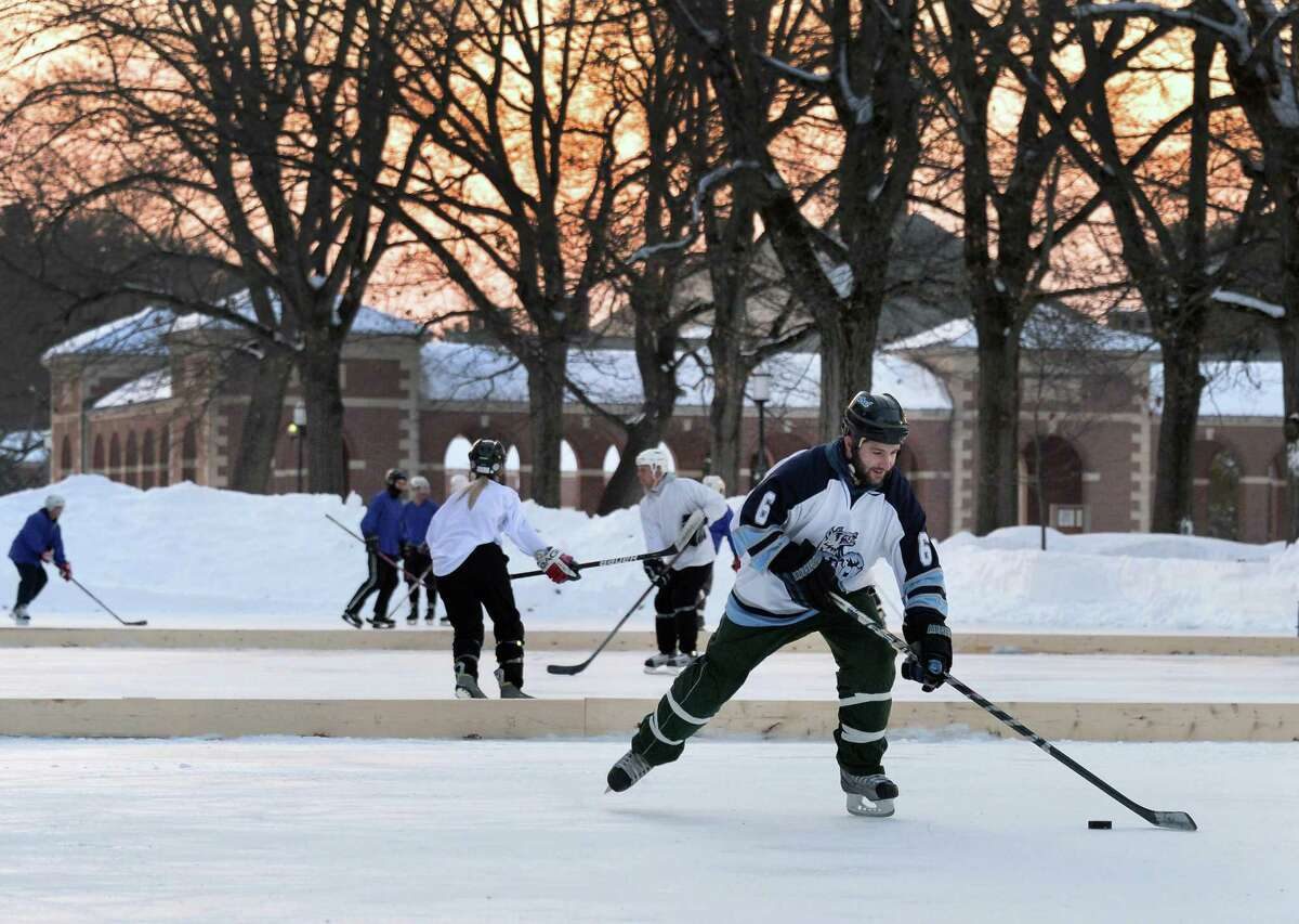 Rob Declemente of Central Connecticut plays on team Stagnetti's Revenge during the 2nd Annual Saratoga Frozen Springs Classic at Saratoga Spa State Park Friday Feb. 6, 2015, in Saratoga Springs, NY. (John Carl D'Annibale / Times Union)