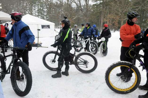 Bikers take part in the first Saratoga Fat Bike Rally at Saratoga Spa State Park on Saturday Feb. 7, 2015 in Saratoga Springs , N.Y.  (Michael P. Farrell/Times Union) Photo: Michael P. Farrell / 00030470A