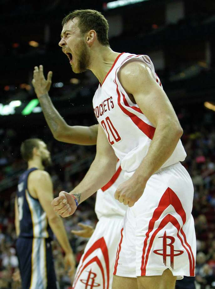 Rockets power forward Donatas Motiejunas has raised his game, averaging 14 points since the start of January. Photo: Karen Warren, Staff / © 2014 Houston Chronicle