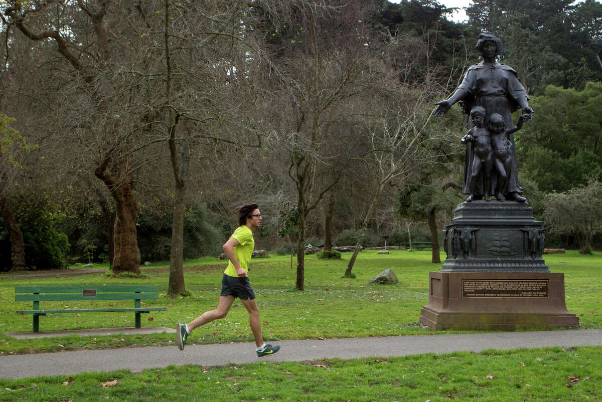 """The """"Pioneer Mother"""" statue now sits near Stow Lake in Golden Gate Park. It was displayed at fairs in 1915 and 1939."""