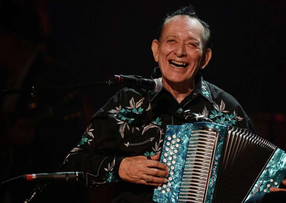 Flaco Jimenez performs during the Americana Music Honors and Awards show Wednesday, Sept. 17, 2014, in Nashville, Tenn. (AP Photo/Mark Zaleski) Photo: Mark Zaleski, FRE / Associated Press / FR170793 AP