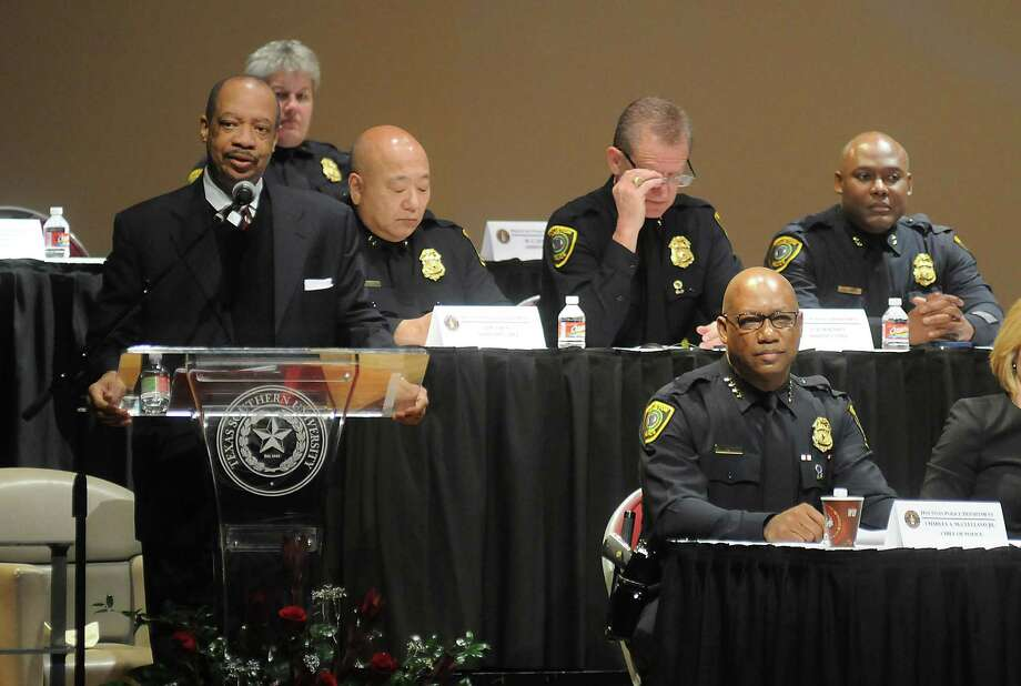 Texas Southern University president Dr. John M. Rudley welcomes the crowd Saturday at an HPD town hall meeting. Police Chief Charles McClelland defended his agency. Photo: Dave Rossman, Freelance / Freelalnce