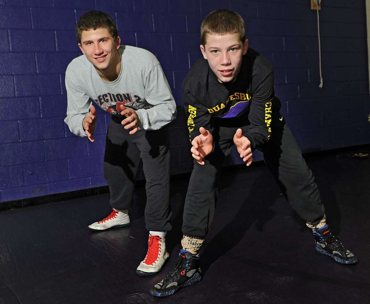 Wrestling brothers Connor, left, and Zachery Lawrence at Duanesburg High School on Friday, Feb. 6, 2015 in Delanson, N.Y. (Lori Van Buren / Times Union)