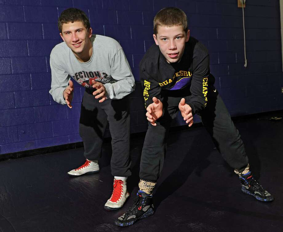 Wrestling brothers Connor, left, and Zachery Lawrence at Duanesburg High School on Friday, Feb. 6, 2015 in Delanson, N.Y. (Lori Van Buren / Times Union) Photo: Lori Van Buren / 10030490A