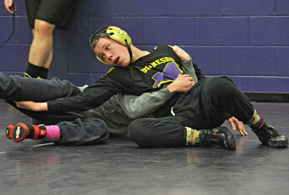 Zachery Lawrence wrestles with teammate Shane Barberis during practice at Duanesburg High School on Friday, Feb. 6, 2015 in Delanson, N.Y. (Lori Van Buren / Times Union)