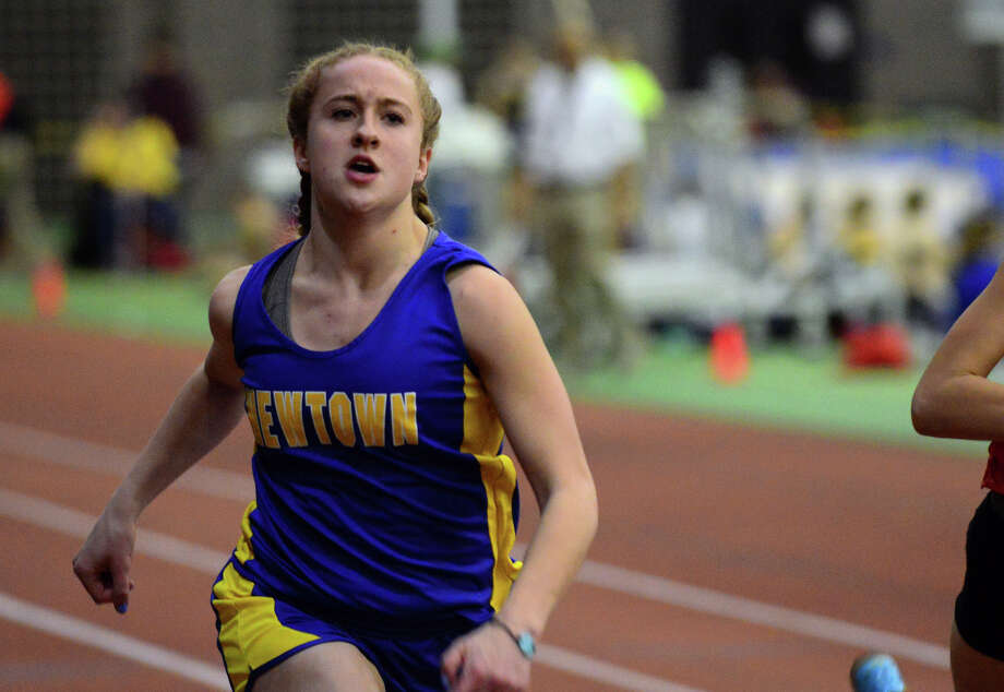 Newtown's Shay Fahey competes in the 55 meter dash, during SWC boys and girls track championship action in New Haven, Conn. on Saturday Feb. 7, 2015. Photo: Christian Abraham / Connecticut Post