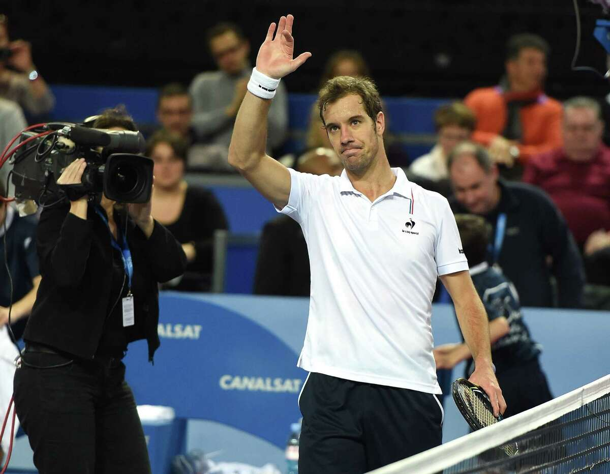 Richard Gasquet of France gestures after winning against Denis Istomin of Uzbekistan during their tennis match at the Open Sud de France world tour ATP on February 06, 2015 in Montpellier, southern France AFP PHOTO / PASCAL GUYOTPASCAL GUYOT/AFP/Getty Images ORG XMIT: -