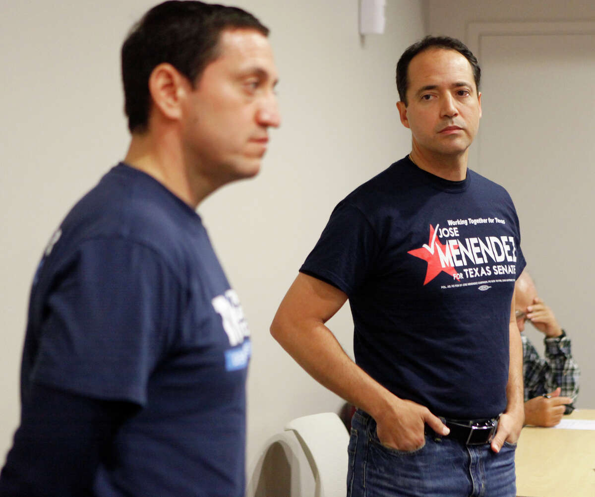 State Senate District 26 candidates Jose Menendez (right) and Trey Martinez Fischer had the opportunity to speak and address questions Saturday Feb. 7, 2015 during the Northeast Bexar County Democrats meeting at Tri Point. Early voting for the special election runoff begins on Monday, Feb. 9.