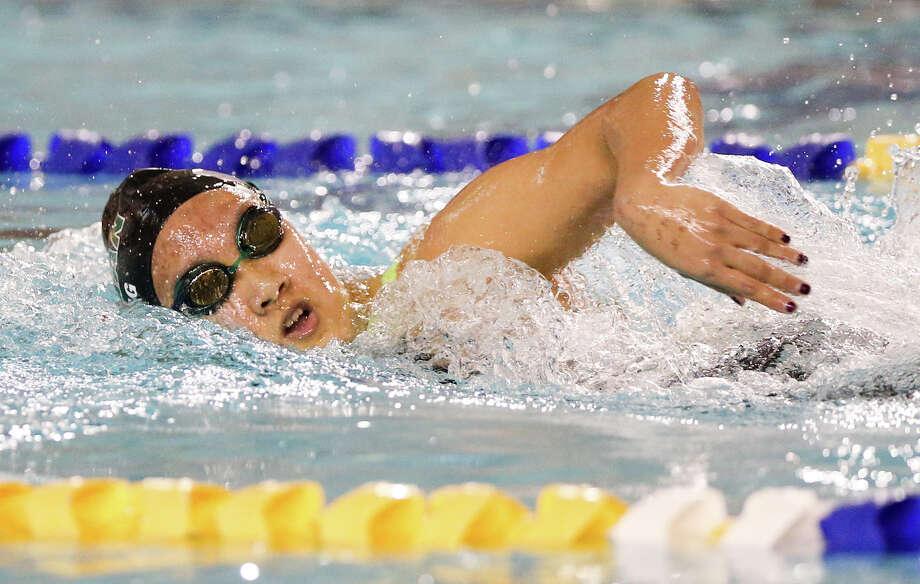 Reagan's Hannah Feng swims in the 500-yard freestyle during the Region VII-6A meet at Josh Davis Natatorium on Feb. 7, 2015. Photo: Marvin Pfeiffer /San Antonio Express-News / Express-News 2015