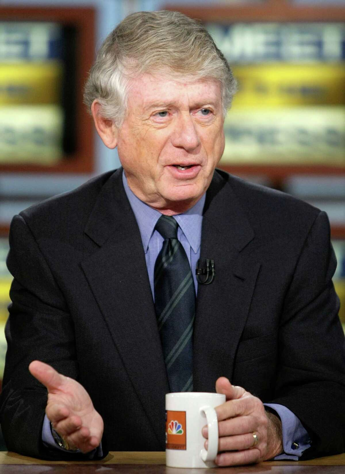 """WASHINGTON - OCTOBER 12: Managing Editor of Discovery Channel's """"The Last Lynching"""" Ted Koppel speaks during a taping of Meet the Press at the NBC studios October 12, 2008 in Washington, DC. Koppel spoke about various topics including the crisis on Wall Street and the U.S. economy. (Photo by Alex Wong/Getty Images for Meet the Press)"""