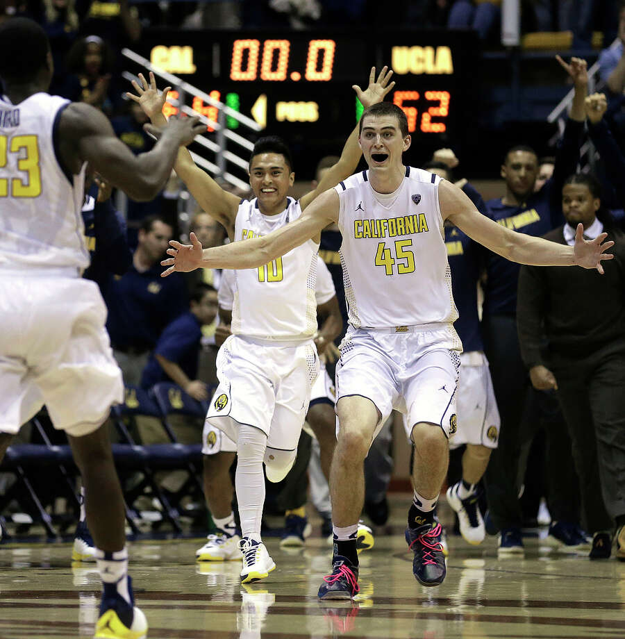 Cal forward David Kravish (45) celebrates with his teammates at the conclusion of the Bears' thrilling 64-62 victory over UCLA at Haas Pavilion. Photo: Ben Margot / Associated Press / AP