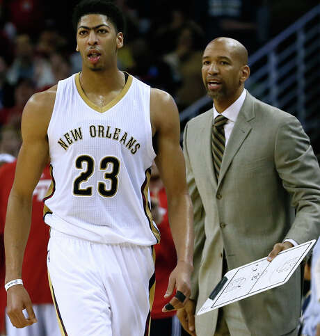 New Orleans Pelicans forward Anthony Davis (23) and head coach Monty Williams during the second half of an NBA basketball game against the Dallas Mavericks, Sunday, Jan. 25, 2015, in New Orleans. (AP Photo/Jonathan Bachman) Photo: Jonathan Bachman, FRE / FR170615 AP
