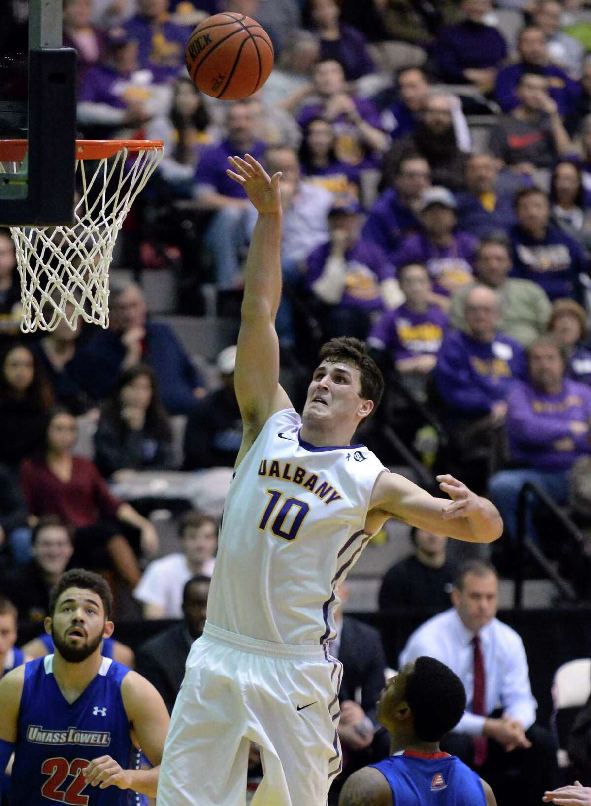 UAlbany's #10 Mike Rowleyis up in in for two against UMass-Lowell Saturday night at the SEFCU Arena Feb. 7, 2015, in Albany, NY. (John Carl D'Annibale / Times Union)