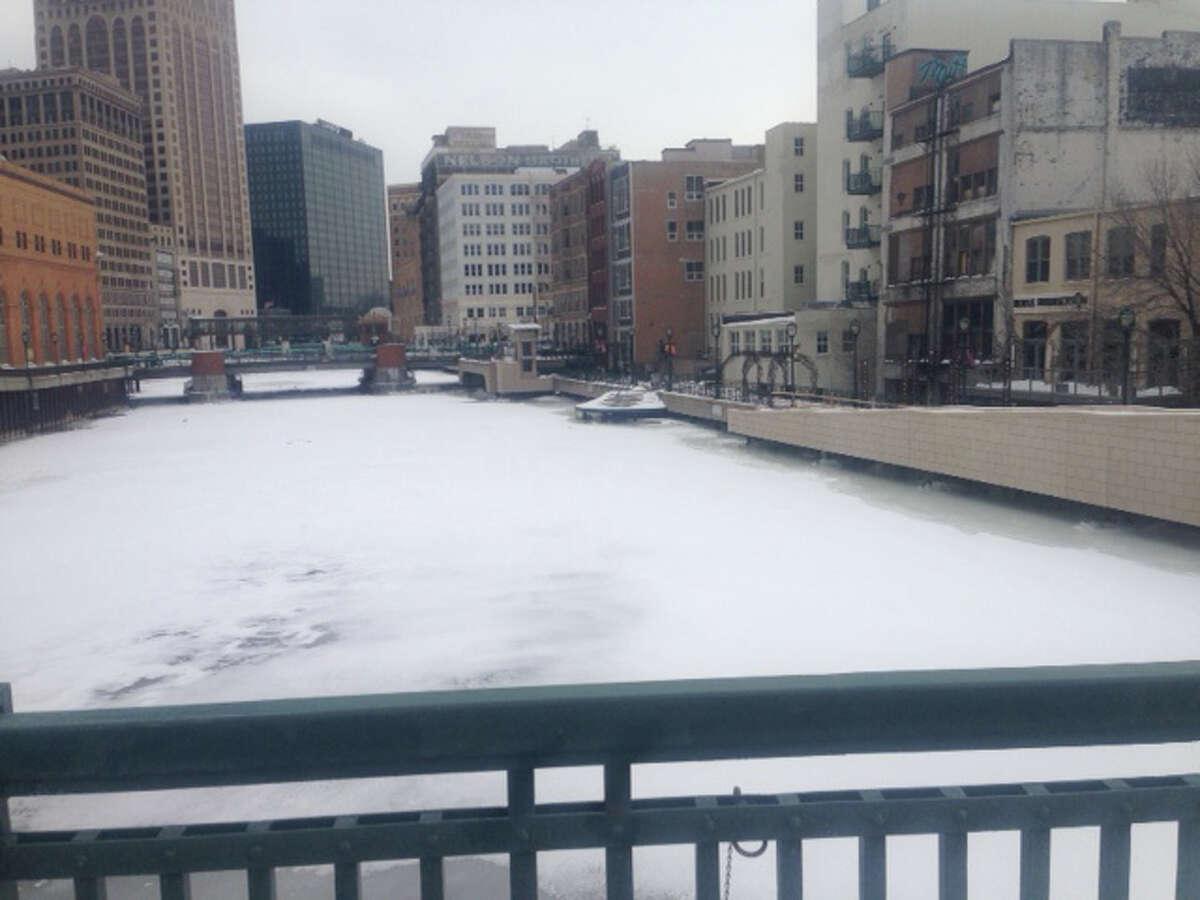 Milwaukee's River Walk, frozen.
