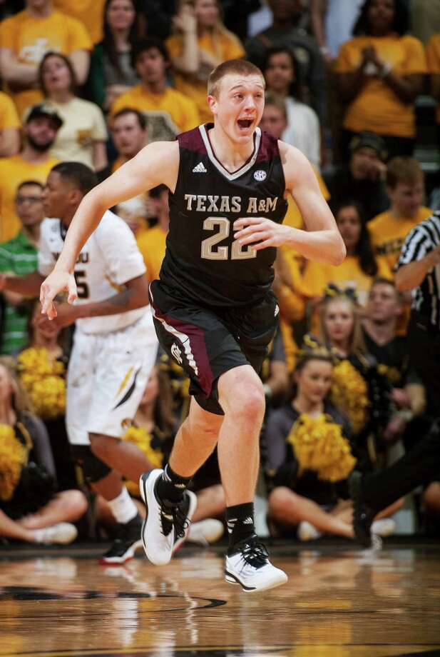 Texas A&M's Peyton Allen celebrates a three point shot during the first half of an NCAA college basketball game against Missouri Saturday, Feb. 7, 2015, in Columbia, Mo. (AP Photo/L.G. Patterson) Photo: L.G. Patterson, Associated Press / FR23535 AP