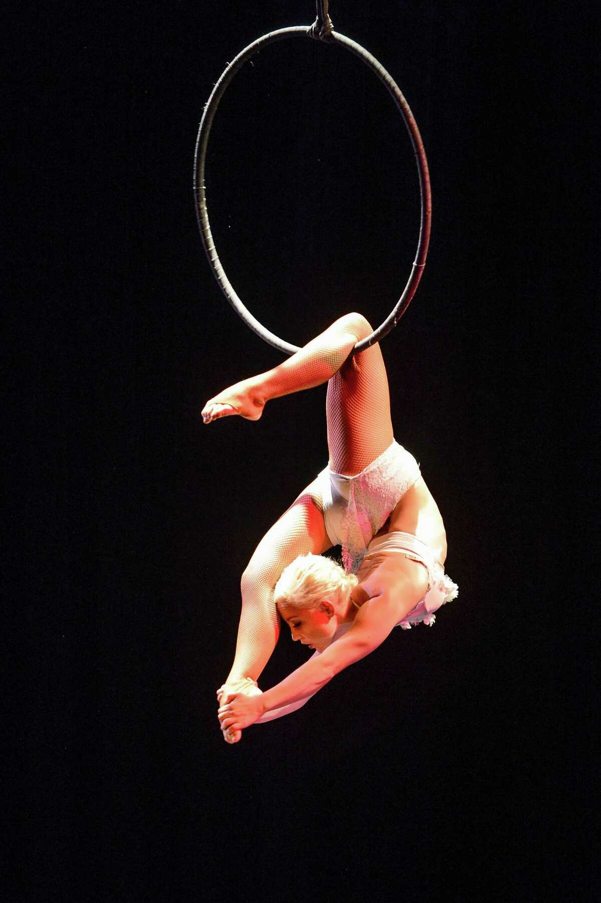 Aerialist Caty Mae performs on the Lyra at the 2015 U.S. Aerial Championship at Rose Nagelberg Theater on February 6, 2015 in New York City.
