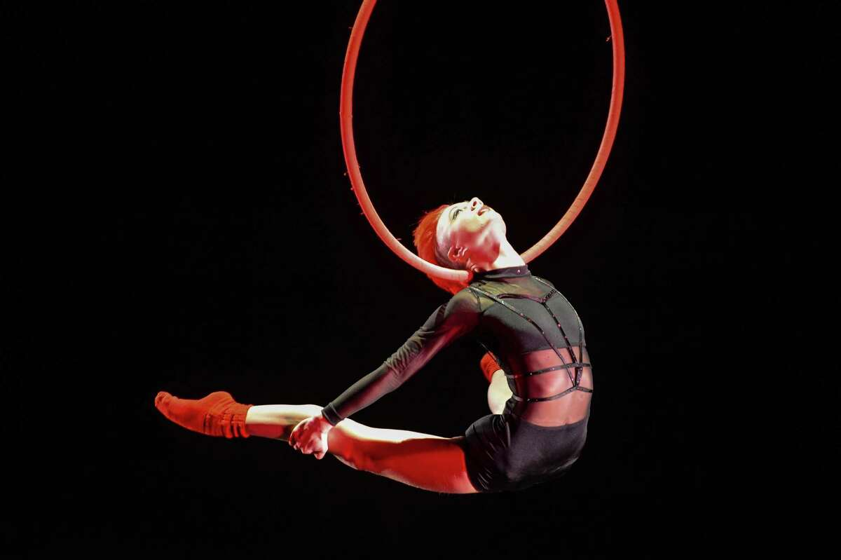 Aerialist Rebekah Burke performs on the Lyra at the 2015 U.S. Aerial Championship at Rose Nagelberg Theater on February 6, 2015 in New York City.