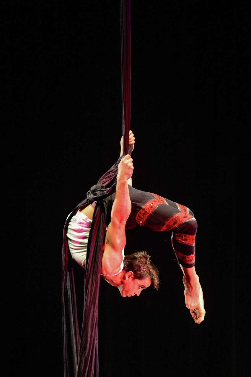 Aerialist Nicolas Maffey performs on the Silks at the 2015 U.S. Aerial Championship at Rose Nagelberg Theater on February 6, 2015 in New York City.