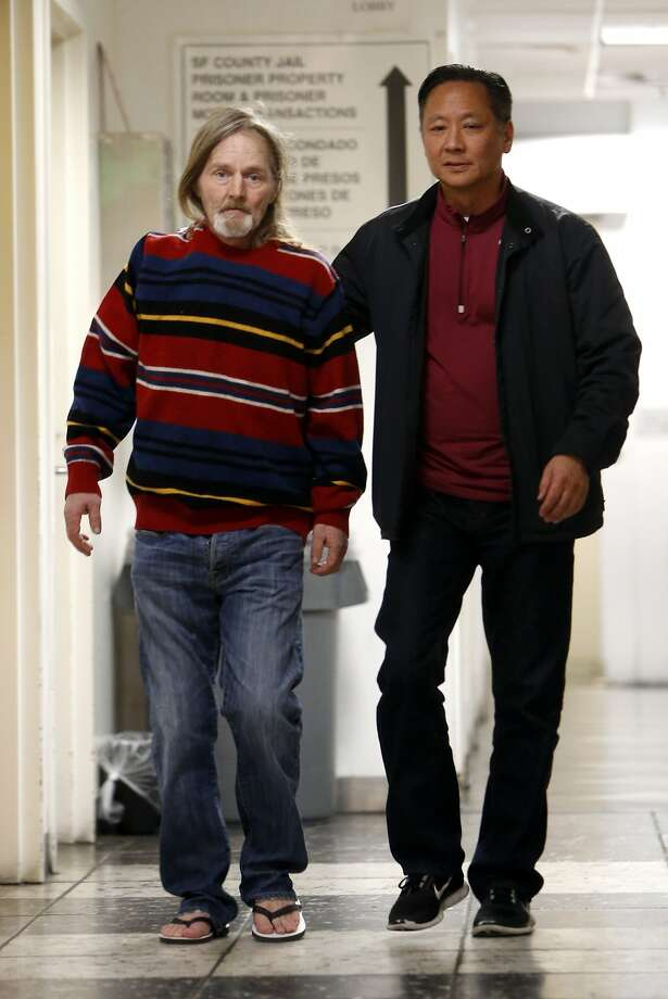 Mark Andrus leaves county jail with Public Defender Jeff Adachi after no charges were filed against him in the murder of a man found in a suitcase. Photographed in San Francisco , Calif. on Tuesday, February 3, 2015. Photo: Scott Strazzante, The Chronicle