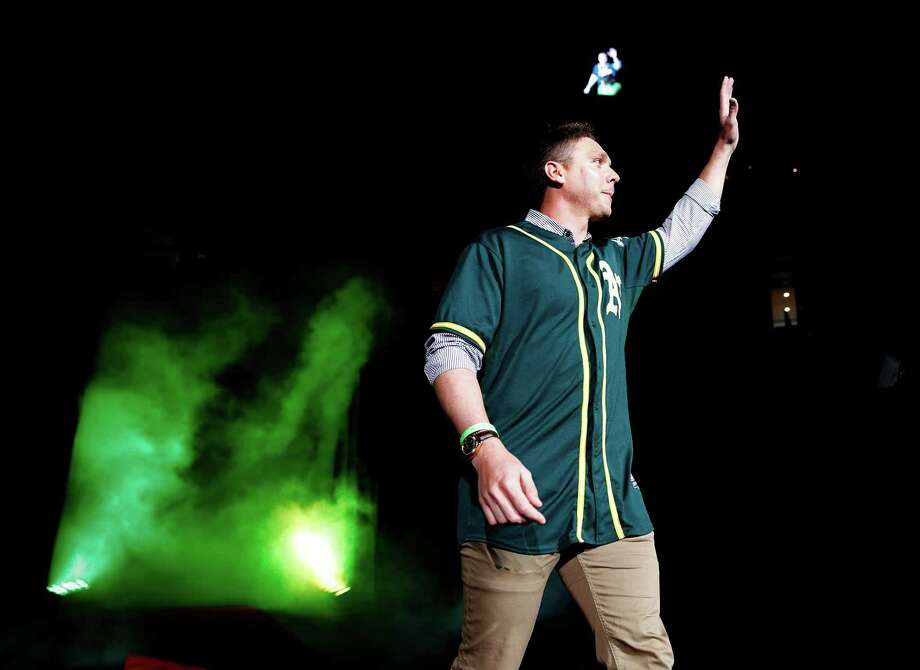 Scott Kazmir is introduced at Fan Fest at Oracle Arena in Oakland on Feb. 8. Photo: Scott Strazzante / The Chronicle / ONLINE_YES