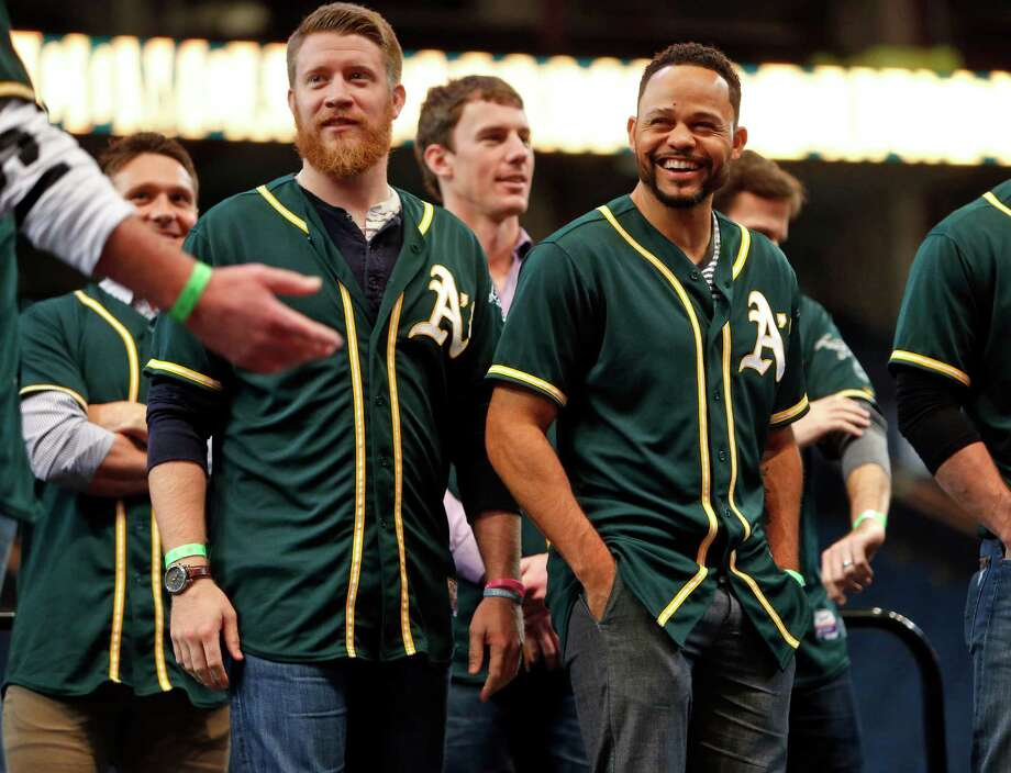 Reliever Sean Doolittle (left, with a little less beard) and outfielder Coco Crisp are two players familiar to A's fans. Photo: Scott Strazzante / The Chronicle / ONLINE_YES