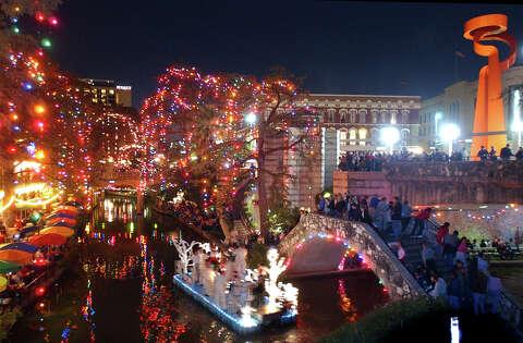 San Antonio Riverwalk During Christmas.Christmas Lights Are Going Up On The River Walk San