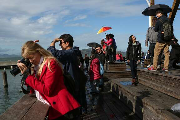 Tourists are not deterred by the rain and even get a bit of sunshine in the afternoon at Pier 39 in San Francisco, Calif., on Sunday, February 8, 2015.