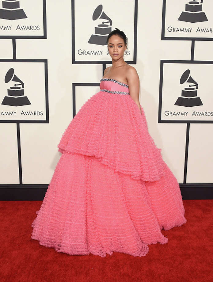 WORST: Rihanna is dependable for red carpet hijinks. So, in a way, this is par for the course. But this quinceanera-style Giambattista Valli didn't deliver the sultry aesthetic for which we depend on her. Photo: Jason Merritt, 2015 Getty Images / 2015 Getty Images