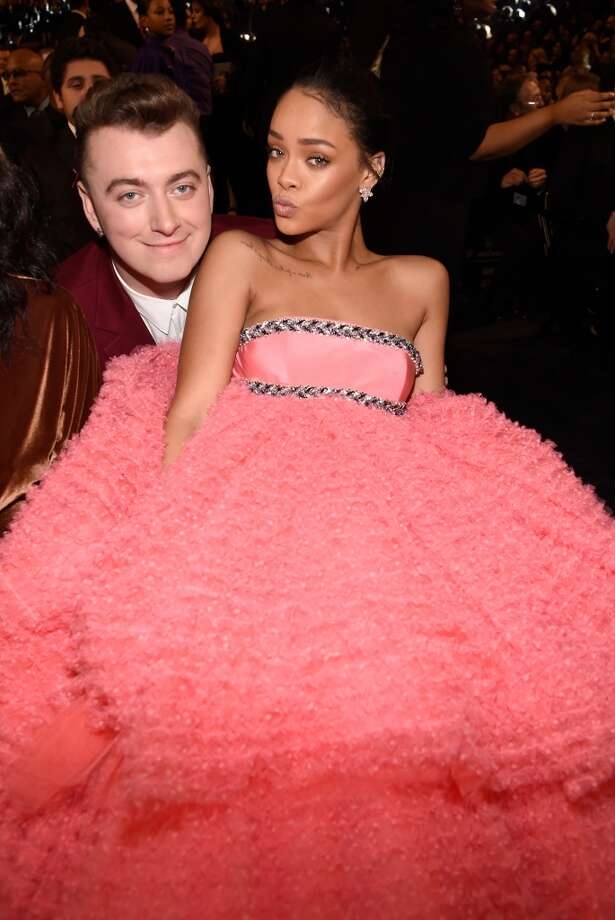 Sam Smith and Rihanna attend The 57th Annual GRAMMY Awards at STAPLES Center on February 8, 2015 in Los Angeles, California. (Photo by Kevin Mazur/WireImage)