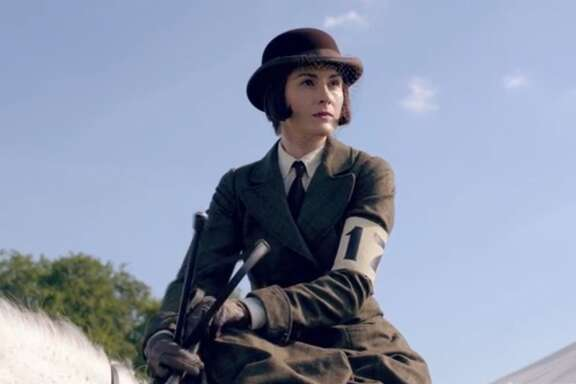 Lady Mary: She chops off her hair, wears a tie and competes with the men --  but  she rides sidesaddle.