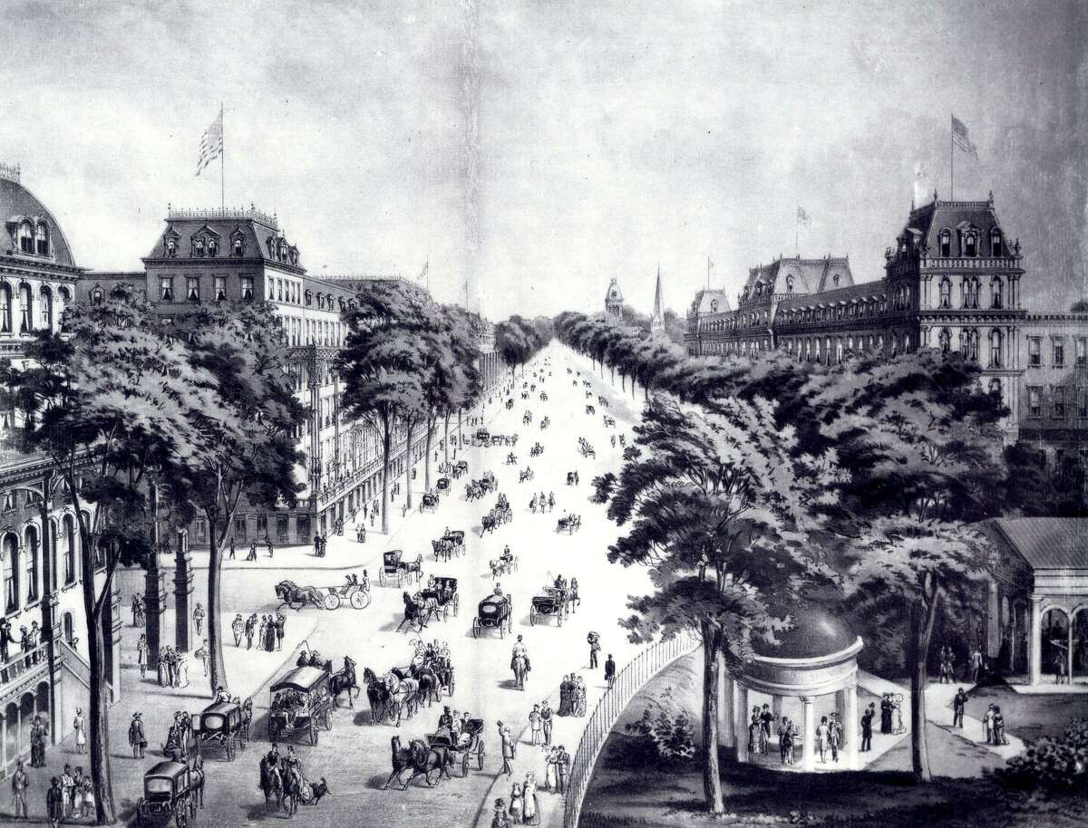 Click through the slideshow to view images of Saratoga Springs through the years . An 1874 Currier and Ives print showing downtown Saratoga Springs