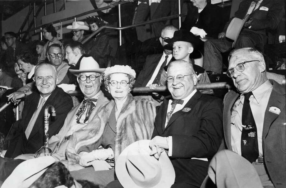 At the Texas State Hotel, seven men devised a plan creating the Houston Fat Stock Show and Livestock Exposition. Among those men were J. Howard West, second from left, and J.W. Sartwelle, fourth from left.  / Houston Chronicle