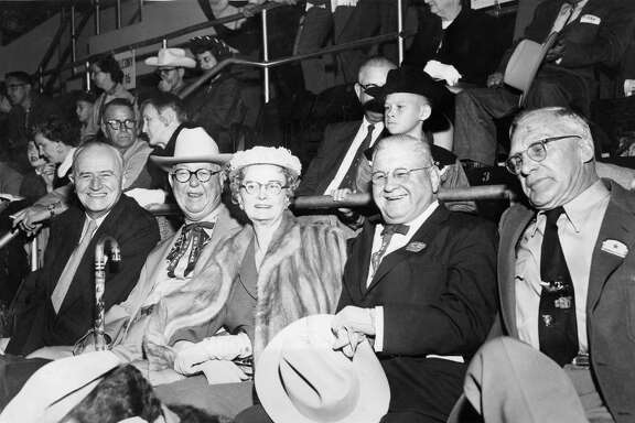 At the Texas State Hotel, seven men devised a plan creating the Houston Fat Stock Show and Livestock Exposition. Among those men were J. Howard West, second from left, and J.W. Sartwelle, fourth from left.