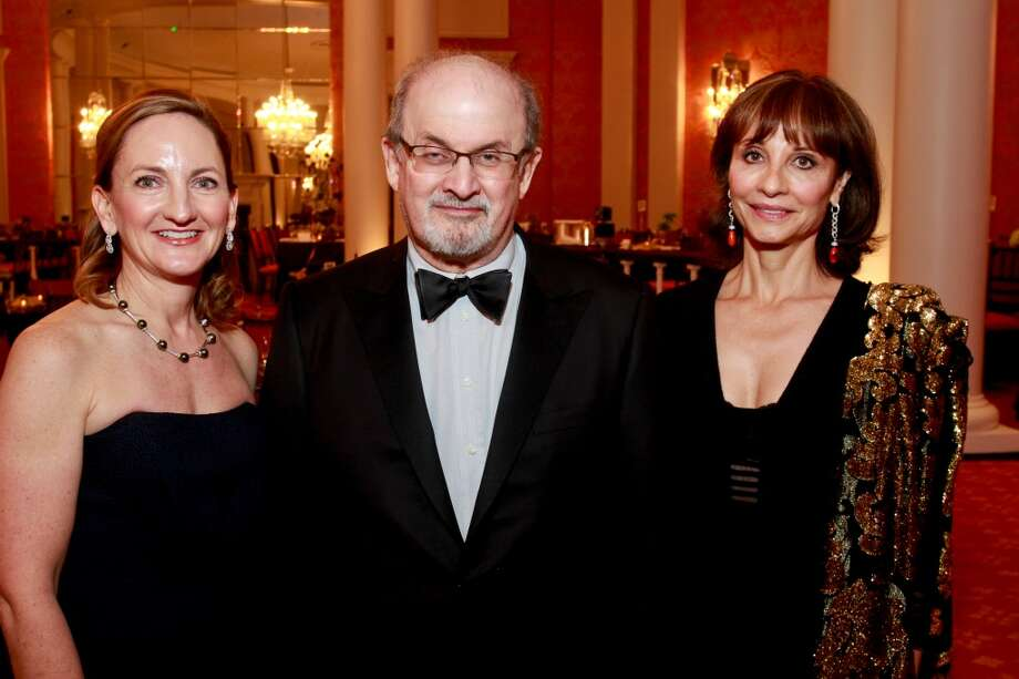 Chris Bryan, from left, Salman Rushdie and Consuelo Duroc-Danner at the Inprint Poets & Writers Ball. Photo: Gary Fountain, For The Chronicle
