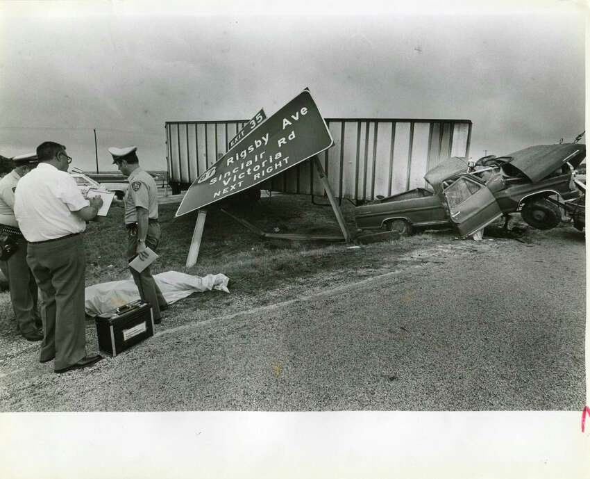 A fatal wreck at 410 and Rigsby on June 5, 1985. The driver, a 53-year-old man, died when a tractor trailer smashed his pickup. SAEN/Steve Krauss.